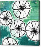 White Petunias- Floral Abstract Painting Acrylic Print