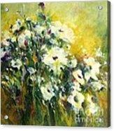 White Poppy Garden II Acrylic Print