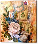 White Roses And Forget Me Nots On Decoupaged Background Acrylic Print