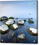 White Stones In The Water Acrylic Print by Anna Grigorjeva