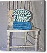 White Teddy And Chair Acrylic Print