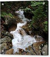 White Waters Over Granite Bolder Acrylic Print
