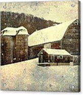 White Winter Barn Acrylic Print