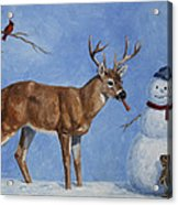 Whitetail Deer And Snowman - Whose Carrot? Acrylic Print by Crista Forest