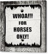 Whoa For Horses Only Sign In Black And White Acrylic Print
