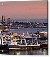 Wider Seattle Skyline And Rainier At Sunset From Magnolia Acrylic Print