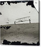 The Wright Brothers Wilbur In Motion At Left Holding One End Of Glider Acrylic Print