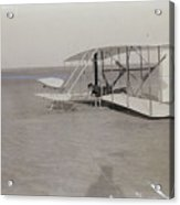 The Wright Brothers Wilbur In Prone Position In Damaged Machine Acrylic Print