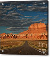 Wild Horse Butte And Road Goblin Valley Utah Acrylic Print