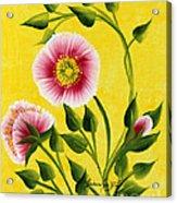 Wild Roses On Yellow Acrylic Print