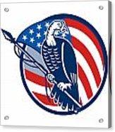 Wild Turkey Perching American Flag Acrylic Print