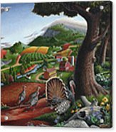 Wild Turkeys In The Hills Country Landscape - Square Format Acrylic Print