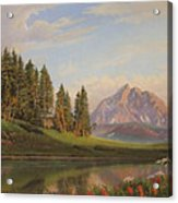 Wildflowers Mountains River Western Original Western Landscape Oil Painting Acrylic Print