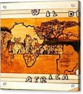 Wildlife Africa- Botswana  Safari Wood Pyrography Fine Art Acrylic Print