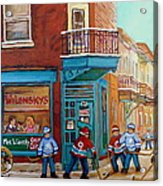 Wilensky Montreal-fairmount And Clark-montreal City Scene Painting Acrylic Print by Carole Spandau