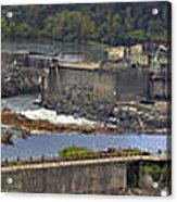 Willamette Falls Dam In Oregon City Panorama 3 Acrylic Print