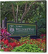 William And Mary Welcome Sign Acrylic Print