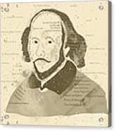William Shakespeare Typography Portrait  Acrylic Print