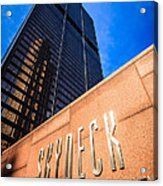 Willis-sears Tower Skydeck Sign Acrylic Print by Paul Velgos