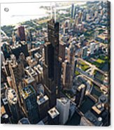 Willis Tower Chicago Aloft Acrylic Print by Steve Gadomski