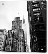 Willis Tower In The Clouds - Black And White Acrylic Print