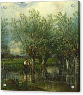 Willows With A Man Fishing Acrylic Print