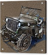Willys Car Drawing Acrylic Print