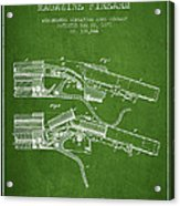 Winchester Firearm Patent Drawing From 1877 - Green Acrylic Print