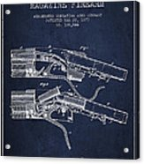 Winchester Firearm Patent Drawing From 1877 - Navy Blue Acrylic Print