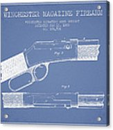 Winchester Firearm Patent Drawing From 1888- Light Blue Acrylic Print