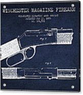 Winchester Firearm Patent Drawing From 1888- Navy Blue Acrylic Print