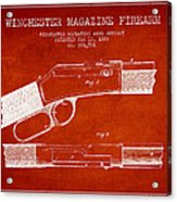Winchester Firearm Patent Drawing From 1888- Red Acrylic Print