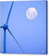 Wind Farm  And Full Moon Acrylic Print