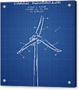 Wind Generator Break Mechanism Patent From 1990 - Blueprint Acrylic Print