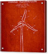 Wind Generator Break Mechanism Patent From 1990 - Red Acrylic Print