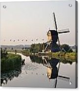 Wind Mill On A Canal, Holland Acrylic Print