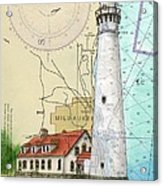 Wind Pt Lighthouse Wi Nautical Chart Map Art Cathy Peek Acrylic Print