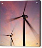 Wind Turbine Blades Spinning At Sunset Acrylic Print
