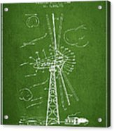 Wind Turbine Patent From 1944 - Green Acrylic Print