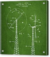 Wind Turbine Rotor Blade Patent From 1995 - Green Acrylic Print