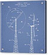 Wind Turbine Rotor Blade Patent From 1995 - Light Blue Acrylic Print