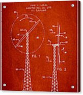 Wind Turbine Rotor Blade Patent From 1995 - Red Acrylic Print