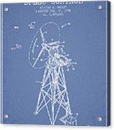 Wind Turbine Speed Control Patent From 1994 - Light Blue Acrylic Print