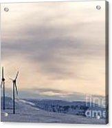 Wind Turbines In Winter Acrylic Print by Bernard Jaubert