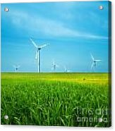 Wind Turbines On Green Field Acrylic Print