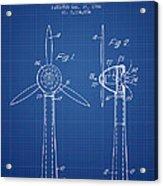Wind Turbines Patent From 1984 - Blueprint Acrylic Print