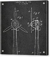 Wind Turbines Patent From 1984 - Dark Acrylic Print