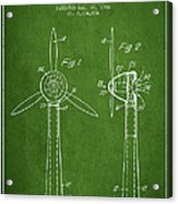Wind Turbines Patent From 1984 - Green Acrylic Print