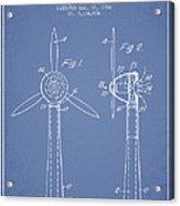 Wind Turbines Patent From 1984 - Light Blue Acrylic Print