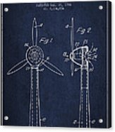 Wind Turbines Patent From 1984 - Navy Blue Acrylic Print